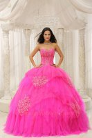 Bright Fuchsia Mesh/Gauze Military Ball Gown Lines Full Polyester Boning Bodice
