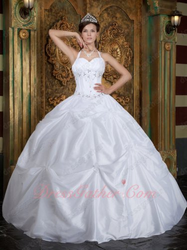 Simple Halter Picks-up Skirt Pure White Taffeta Designer Quinceanera Gown Cheap