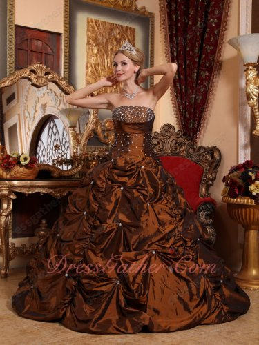 Beaded Saddle Brown New Coming Quinceanera Dress Floor Length Bubble
