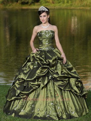 Olive Green Taffeta Puff/Bubble Cover Quinceanera Ball Gown Inexpensive Online