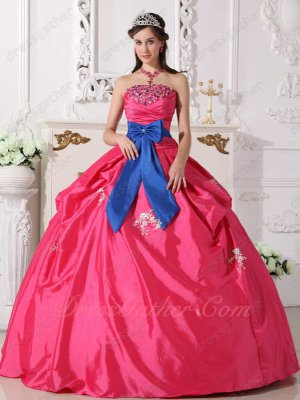 Cheap Price Hot Pink Puffy Taffeta Quinceanera Dress With Royal Blue Bowknot