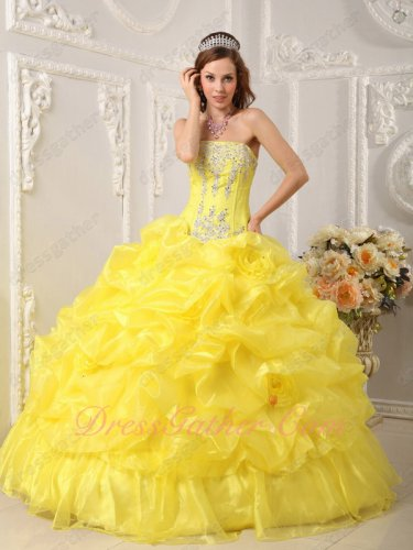 Vivid Canary Bright Yellow Full Bubble Organza Quinceanera Ball Gown Stage