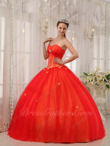 Stylish Fluffy Flat Many Layers Mesh Quinceanera Gown Scarlet With Orange Satin Lining
