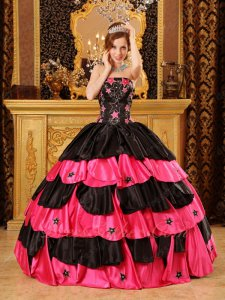 Pentagram Five Pointed Stars Embroidery Black And Hot Rose Pink Layers Quince Ball Gown