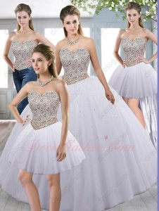 Silver and Gold Mixed Rhombus Beadwork Basque Detachable Four Pieces Quince Ball Gown