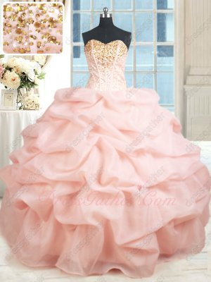 Floor Length Blush Bubble Sweet 16 Ball Gown Detachable Two Pieces Top and Bottom