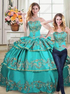 Detachable Blouse/Layers Skirt 2 Pieces Turquoise Quinceanera Gowns Gold Embroidery