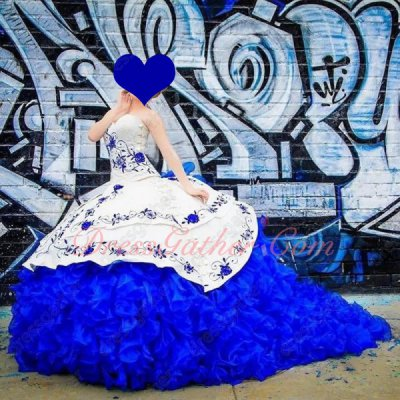 Western Hot Sell Girls Prefer Embroidery White & Royal Blue Court Ball Gowns With Train
