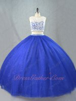 Two Piece Off White Cashew Lace Covered Bodice Royal Blue Tulle Ball Gown Lace Inside