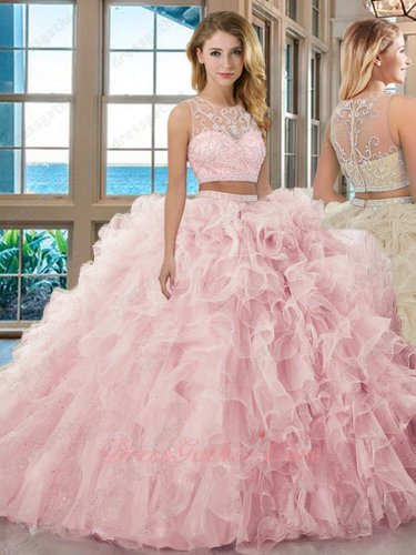 Separated Two Pieces Pink Organza and Sparkle Tulle Ruffles Quinceanera Ball Gown Cheap