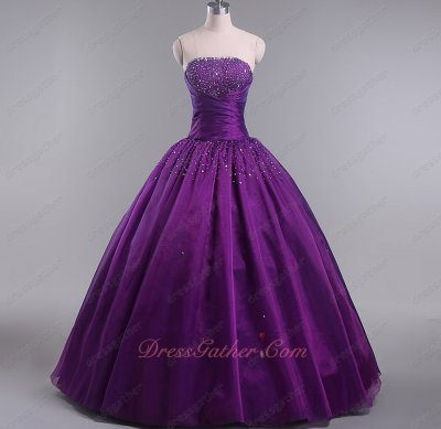 Simple Grape Deep Purple Organza Aliexpress 2020 Quinceanera Ball Gowns Floor Length
