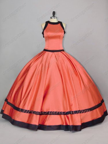 Scoop Red Satin With Black Bordure/Overlapping Quinceanera Gown Hostess Housemaid Style