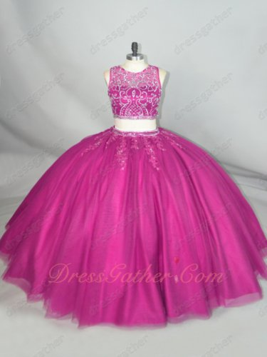 Style Of 2020 Two Pieces Beaded Bodice Magenta Tulle Fluffy Quinceanera Gowns Wholesale