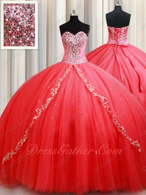 Gorgeous Watermelon Mesh Chapel Train Corset Back Quinceanera Gown Supplier Direct Sell