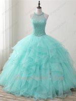 Designer Pearl and Crystals Sheer Scoop Blouse Ruffles Featured Quinceanera Dress Mint