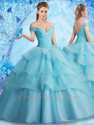 Off Shoulder Elastic Mesh Tape/Horsehair Layers Fluffy Ice Blue Quinceanera Ball Gown