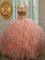 Wholesale Transparent Scoop Peach Mesh Ruffles Gold Beadwork Sweet 16 Ball Gown Petite