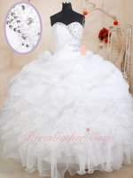 Exclusive Folds Bodice Silver Edging Ruffles Quinceaneara Ball Gown White