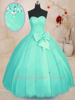Sweetheart Mint Apple Green Simple Floor Length Mesh Quinceanera Ball Gown Under 180