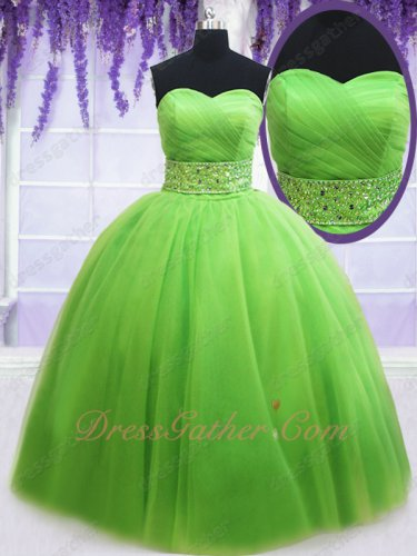 Wide Beadwork Belt Spring Green Tulle Quince Evening Ball Gown Bowknot Back Decorate