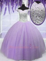 Off Shoulder Tulle and Satin Flat Puffy Skirt Elegant Quinceanera Ball Gown Lilac