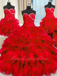 Best Seller Detachable Four Parts Red Quinceanera Dress Full Thick Organza Waterfalls