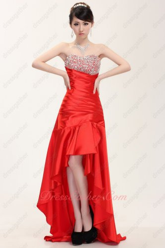 Sweetheart Neck High Low Red Slender Prom Dress For Drinking Party