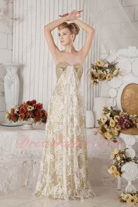 Best Seller Champagne Gold Sparkle Sequin With Lace Night Evening Prom Gown Petite