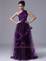 One Shoulder Dark Grape Purple Tulle Evening Dress Overlapping/Horsehair