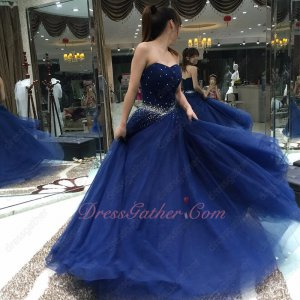 Dark Royal Blue Multilayered Tulle Ball Gown Send Picture To Customized