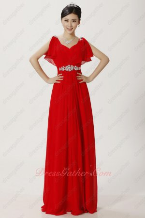 Crystals Sash Decorate Flouncing Sleeves Red Chiffon Emcee Evening Dress