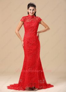 Chinese Cheongsam Short Sleeves Package Body Fishtail Evening Dresses Backless