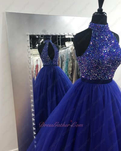 High Collar Colorful Crystals Bodice Royal Blue Tulle Stage Show Gown