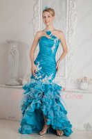 One Shoulder High Low Mermaid Fishtail Azure Blue Organza Layers Evening Gowns