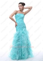 Wrinkled Organza Package Hips Mermaid Ruffles Ice Blue Evening Party Dress