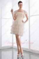Pin-tucks Chiffon Blouse Layers Soft Tulle Short Skirt Mature Formal Gowns With Jacket