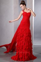 Cascade Fall Ruffles Red Social Evening Gowns One Shoulder Strap With Watteau