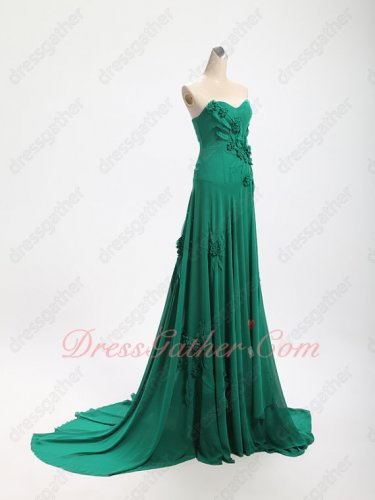 Elegant Hunter Green 3D Flowers Forest Series Drama Prom Dress Custom Made