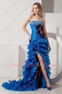 Feather Embellish Mermaid Puckers Layers Azure Organza Evening Cocktail Gowns Slit