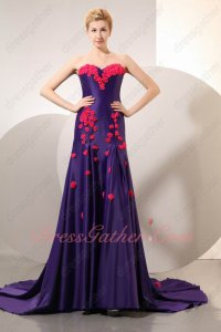 Bright Amethyst Violet Evening Gowns Handmade Fuchsia Flowers Chapel Train