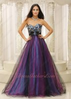Leopard Bodice Colorful Tutu Floor Length Tulle Military Evening Prom Gowns Pretty