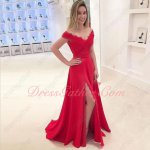 Fascinating Off Shoulder Floor-length Split Music Festival Red Prom Dress