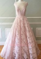 Transparent Scoop A-line Pink Lace Women Runway Beauty Contest Dress