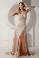 Halter Sheeny Champagne Acetate Satin High Slit Show Left Leg Evening Attire