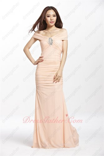 Flat Shoulders Shirred Bodice Slim Blush Holiday Dress Elastic Chiffon