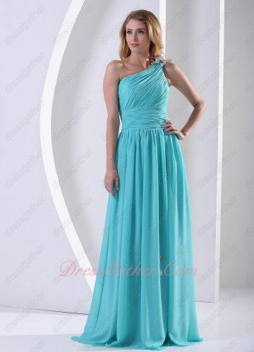 Pleat One Shoulder Blouse Jade Aqua Blue Formal Evening Dress High Quality