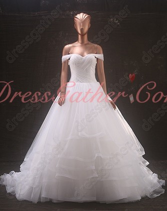 Flat Shoulder Crossed Ruching Corset Layers Horshair Puffy Elegant Wedding Bridal Dress
