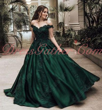 Off Shoulder Fully Applique Bulging Hunter Green Opera Performance Dress Website